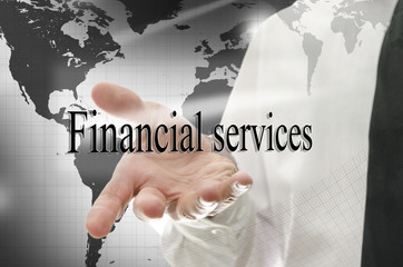 Business man presenting sign Financial services