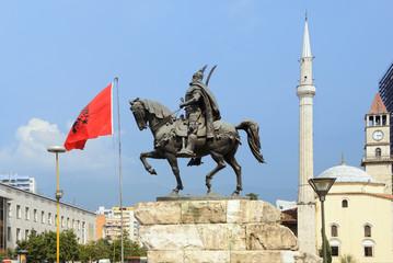 Skanderberg statue in Tirana, Albania