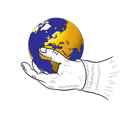 Human hand and planet.Vector illustration