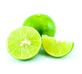 Green fresh lime and slice, Isolated on white background