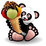 Panda Cartoon with Big Ice Cream-Panda con Gelato