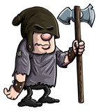 Cartoon executioner with a big axe