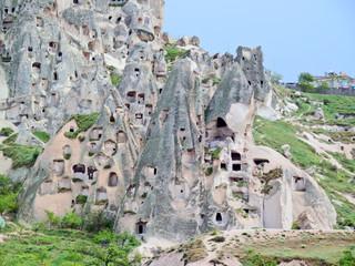 Conjunto de viviendas rupestres en la Capadocia. Turquia