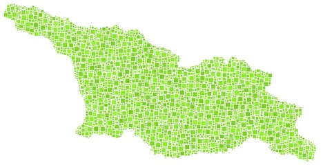 Map of Georgia - Eurasia - in a mosaic of green squares
