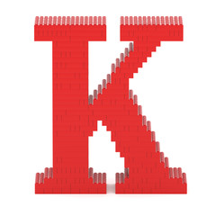 Letter K built from toy bricks