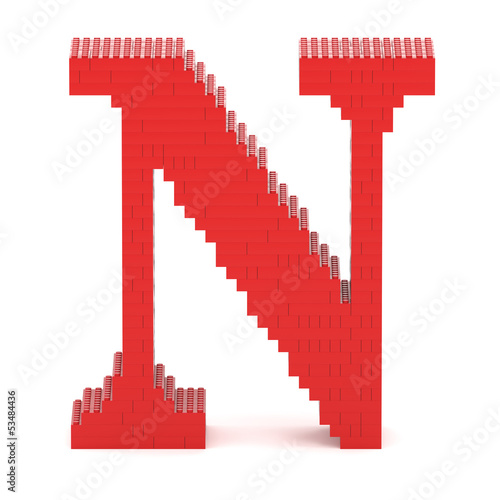 Letter N built from toy bricks