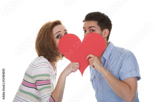 Couple Holding Paper Heart