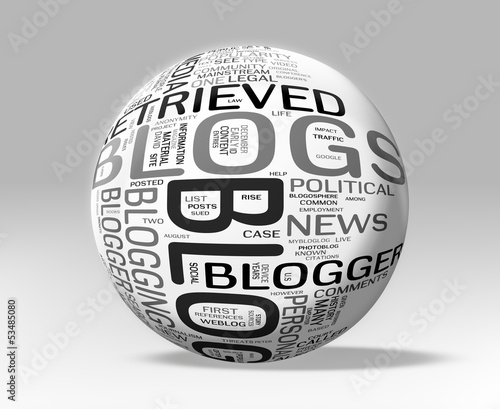 3D BLOG Word Collage Sphere - Clipping Path included