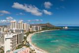 Scenic view of Waikiki Beach in summer poster