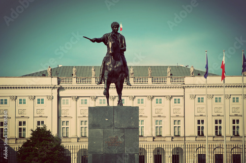 The Presidential Palace in Warsaw, Poland. Retro vintage style - 53485841