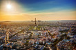 Paris, France at sunset. Aerial view on Eiffel tower, landmarks