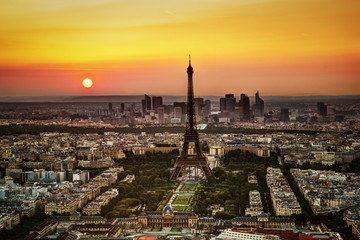 Paris, France at sunset. Aerial view on the Eiffel Tower