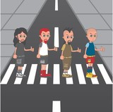 cartoon guy crossing street