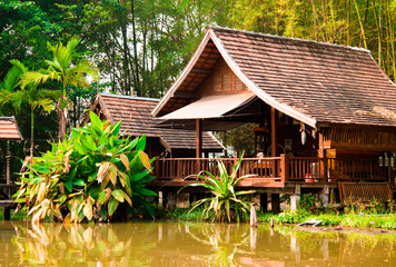 Teak house  poolside in thailand