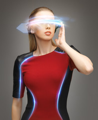 attractive woman with digital glasses