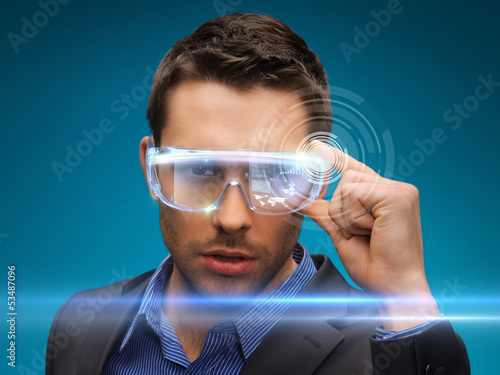 businessman with digital glasses