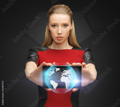 woman holding tablet pc with sign of globe