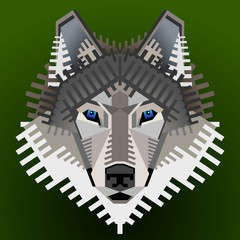 Geometric wolf's face. Vector image front view of wolf head