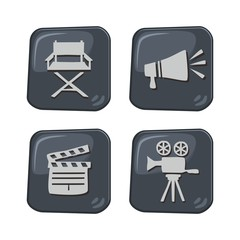 movie icon button set