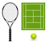 vector tennis racket with ball and field