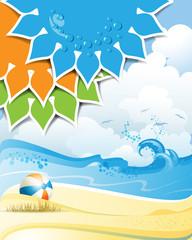 Solar shape with beach ball and sea