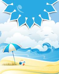 Blue solar shape with beach ball and umbrella