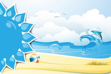 Blue solar shape with beach ball and dolphin on the sea