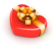Red gift box with gold