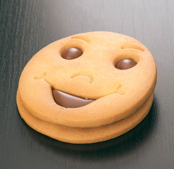 smiling filled chocolate biscuits