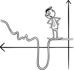 businessman on graph curve cartoon