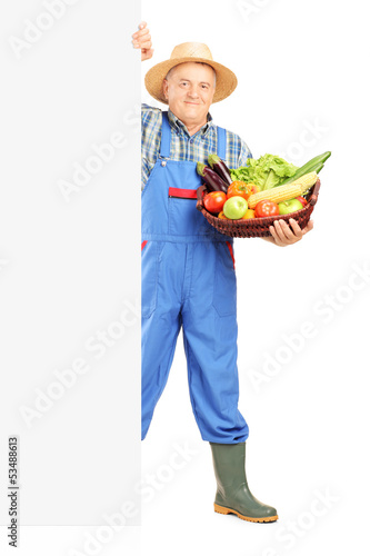 Mature gardener holding a basket full of fruits and vegetables