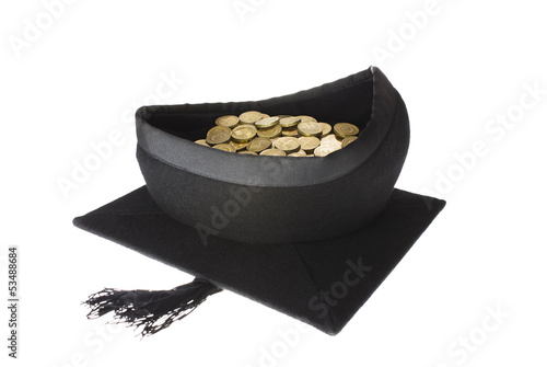 Education Costs - Mortar Board Graduation Cap Full of Coins