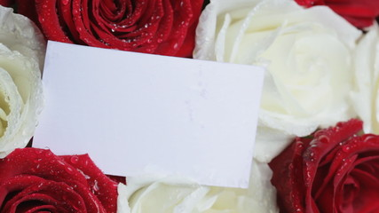 Card takes place on a bouquet of roses