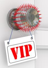 """Табличка с аббревиатурой """"VIP"""" висит на дверной ручке"""