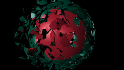 Bangladesh flag sphere combining and breaking apart animation