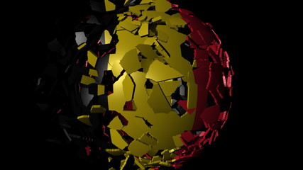 Belgium flag sphere combining and breaking apart animation