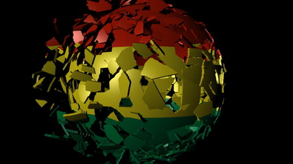 Bolivia flag sphere combining and breaking apart animation