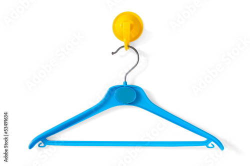 Blue Clotheshanger Hanged On A Yellow One