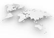 Planisfero mondo 3d bianco cartina