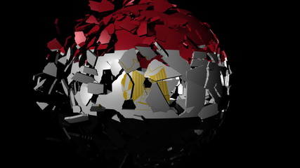 Egypt flag sphere combining and breaking apart animation
