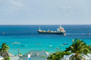 Oil Tanker Anchored Off the Coast of Barbados