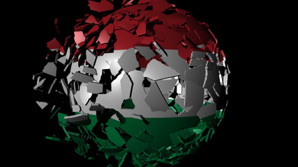 Hungary flag sphere combining and breaking apart animation