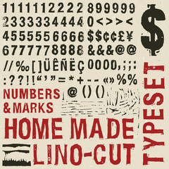 Home made woodcut typeset numbers & marks