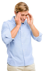 Stressed man suffering from headache isolated on white backgroun