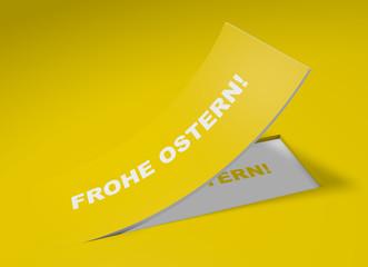 3D Etikett Gelb - Frohe Ostern!