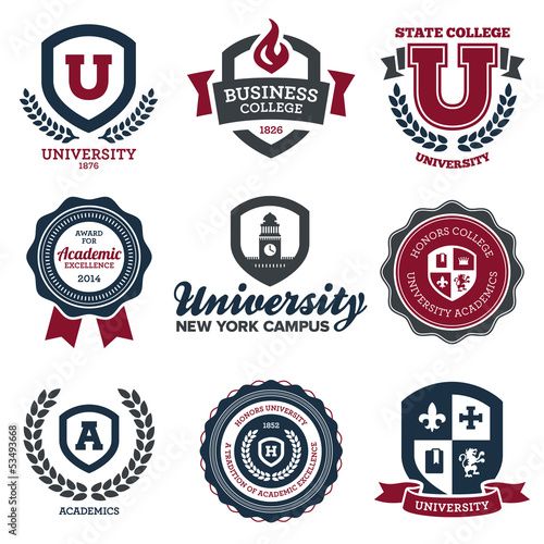 University and college crests