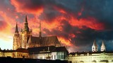 Prague castle at sunrise - time lapse