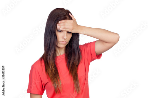 Brunette girl with headache