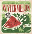 Vintage poster template for watermelon farm
