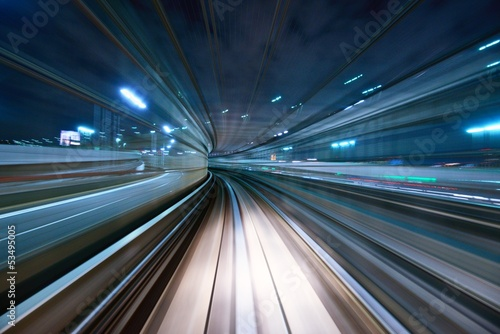 canvas print picture Motion Blur from a Tokyo Monorail